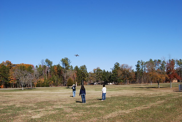 Flying a kite at Staunton River State Park