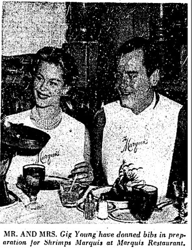 gig young and wife eat shrimp 1959 LAT