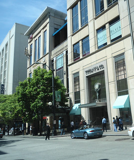 Tiffany & Co Seattle WA new Tiffany Blue awnings, Nordstrom on the left side