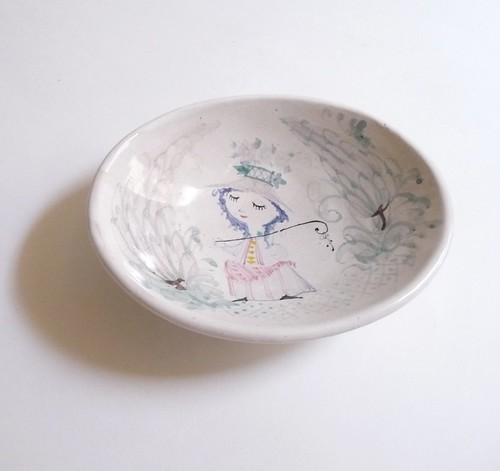 Handpainted Bjorn Wiinblad Studio Bowl