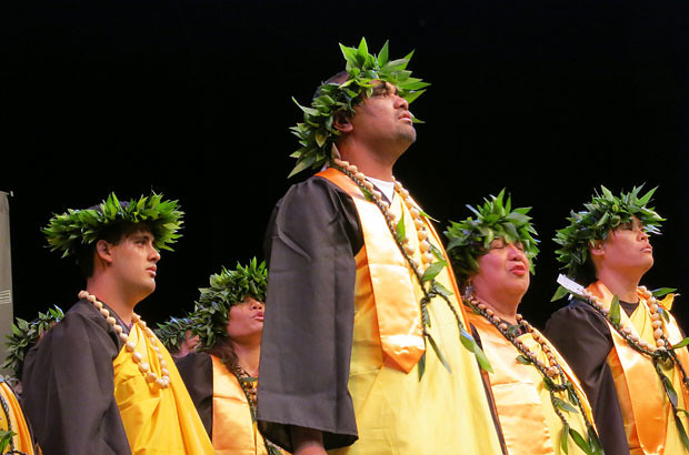 <p>The Windward CC Hawaiian language class presents an oli ka'i na haumana during their spring 2012 commencement ceremony (photo by Mikki O'Phelan)</p>