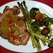 Pork Chop with Watermelon Rind Chutney and Roasted Veggies
