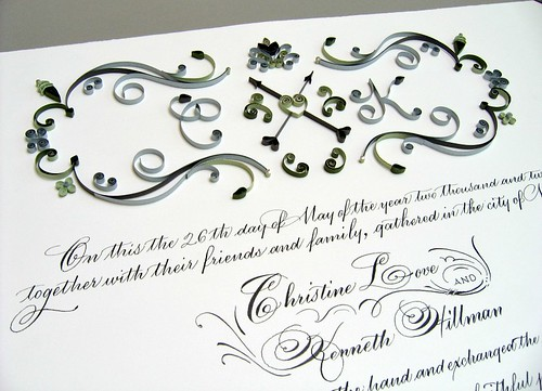 Monogrammed Marriage Certificate with Quilling