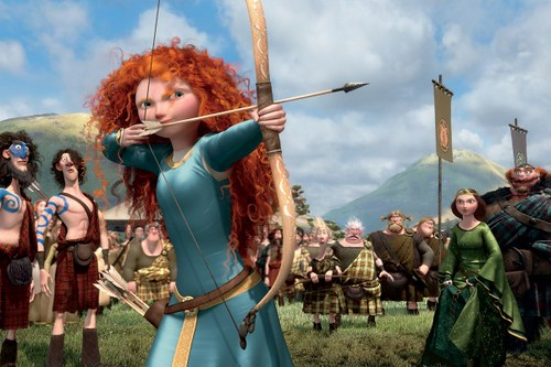 Merida shooting a bow and arrow