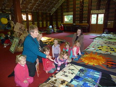 Story blanket display at Rehua Marae