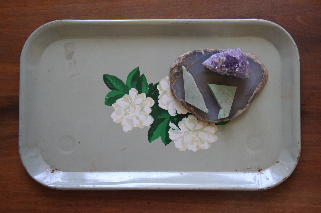 flea market finds: vintage floral tray and amethyst