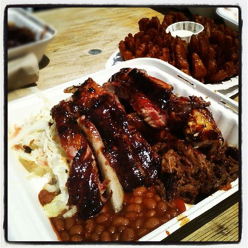 billy bones ribs, chicken, pulled pork, coleslaw and baked beans