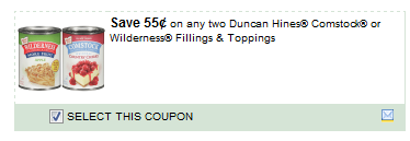 $0.55/2 Duncan Hines Comstock Or Wilderness Fillings & Toppings Coupon