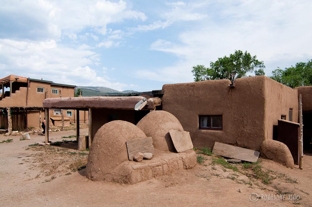 Taos Pueblo buildings and ovens