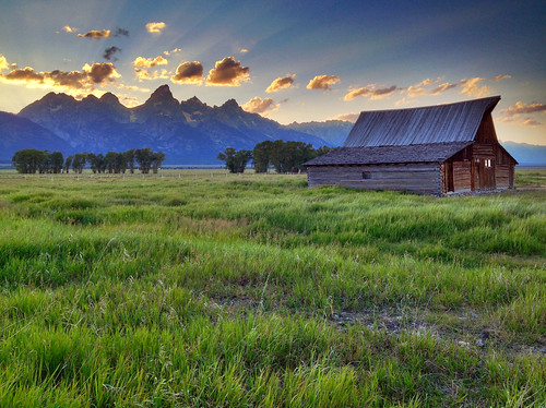 Teton Sunset behind Moulton Barn