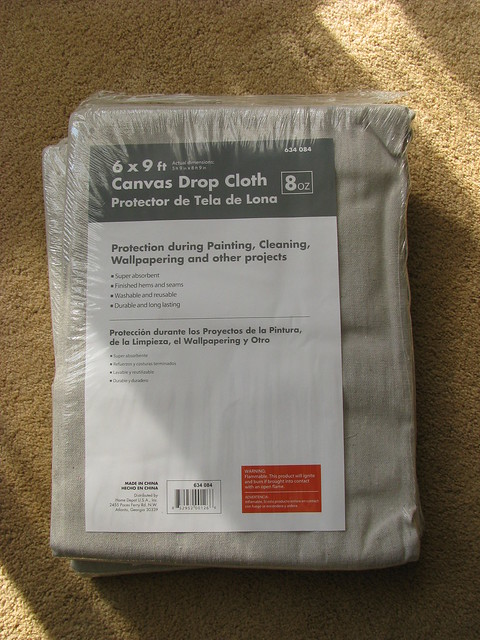 Drop Cloths from Home Depot for Curtains