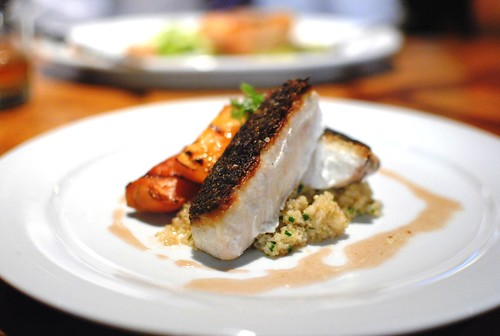 WILD CALIFORNIA WHITE SEABASS roasted herb quinoa, grilled macerated peaches