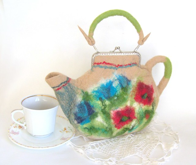 Felted teapot purse Cream with wild flowers