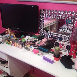 I told Karli to clean her desk...does this look clean to you?