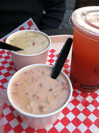 Two bowls of chowder from Pike Place Market.