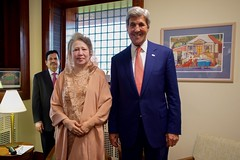 U.S. Secretary of State John Kerry poses for a photo with government opposition leader Begum Khaleda Zia at U.S. Embassy Dhaka during a visit to Dhaka, Bangladesh, on August 29, 2016. [State Department Photo/ Public Domain]
