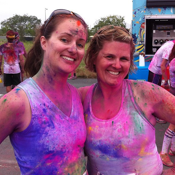 Megan and I post @thecolorrun!!! We are vivid!! #thecolorrun #teamsparkle cc: @wmgg