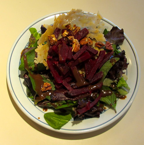 parmesan cup in roasted beets & greens salad