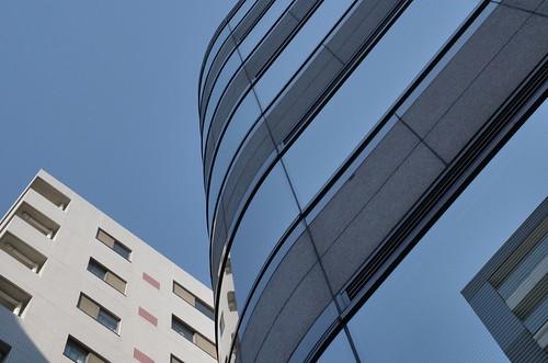 Tokyo blue sky reflection