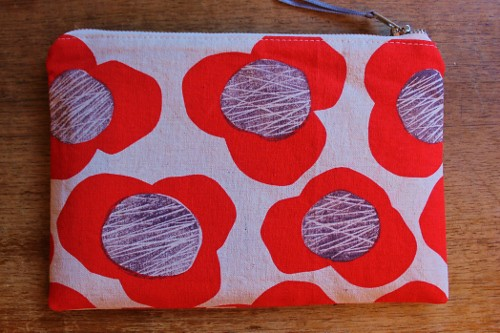 flat pouch - bold flower screen print 19cm x 13cm
