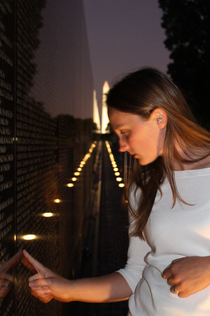 Sophie at the Vietnam Memorial