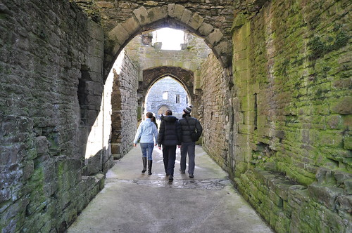 Walking under the internal fortifications of Beaumaris castle