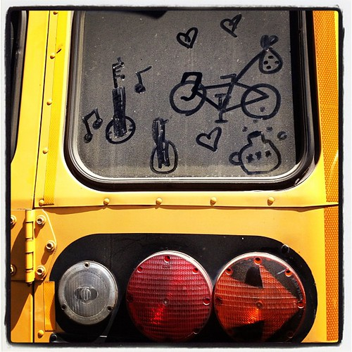 Somehow @prawnpie & I found ourselves on a yellow school bus full of bikes!