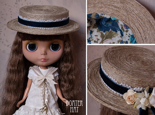 Blue Velvet Boater Hat~