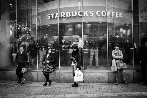 Tsutaya Starbucks at the crossroads of Shibuya. Tokyo 2012