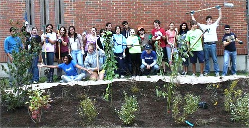 Green Team & students at rain garden, Mount Holly, NJ (courtesy of Sustainable Jersey)