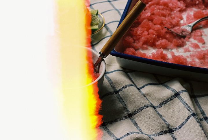 Rhubarb Lime Granita
