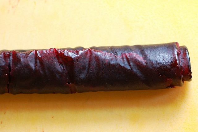 Rolled up cherry  fruit leather awaiting slicing by Eve Fox, Garden of Eating blog, copyright 2012