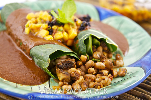 Healthy Black-Eyed Pea Enchiladas with Mole Sauce & Mango Mint Salsa, are a great way to showcase all that plants can do, in an untraditional way!