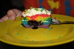 Rainbow Lava Cupcake!