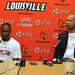 DeJuan Wheat and Marques Maybin, left to right, former Cardinal basketball stars, at a press conference announcing that they would graduate in May 2012