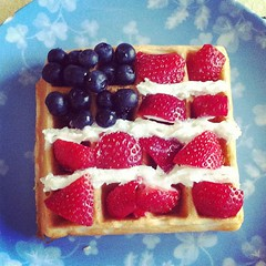 Teaching the kids to celebrate our independence just like our forefathers did.   With flag waffles!