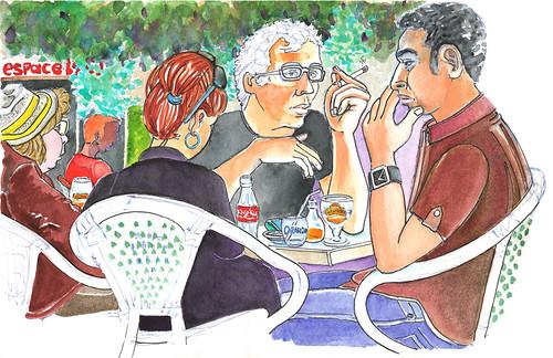 Plein Air Café 07 by alain bertin
