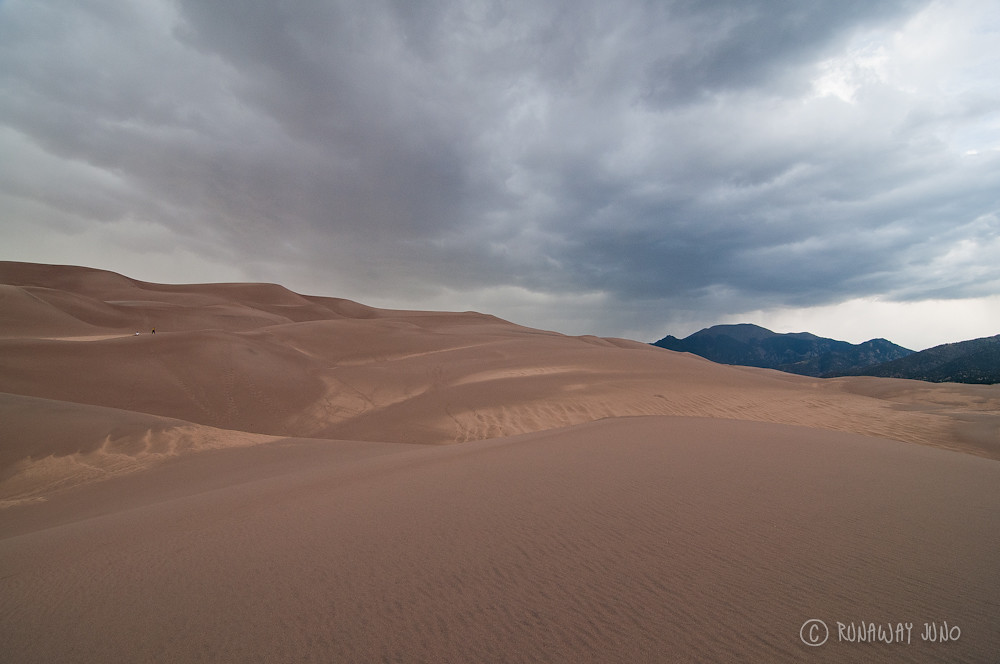 The great sand dunes in the evening