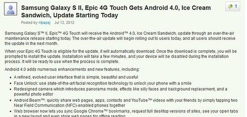 Sprint Epic 4G Touch Galaxy SII ICS update