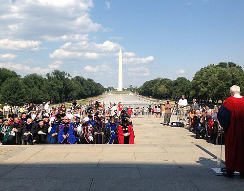 <p>Approximately 75 presidents of public land-grant colleges and universities gathered at the Lincoln Memorial in Washington, D.C. on Monday, June 25 to honor Abraham Lincoln and his role in the passage of the Morrill Act of 1862.</p>