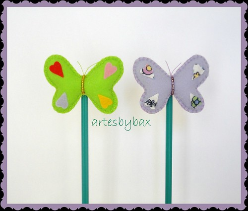 Ponteiras de lápis borboleta by artesbybax - Carmen