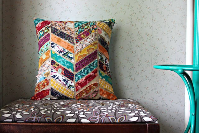 Indie Pillow inspired by West Elm Kantha Chevron Pillows -- tutorial to come soon!! To be shared on the West Elm blog!