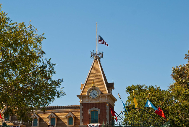 Disneyland Main Street Train Station Flag