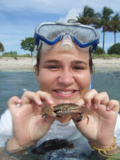 Dylan catches a swimming crab!