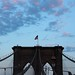 Top of Brooklyn Bridge with Flag