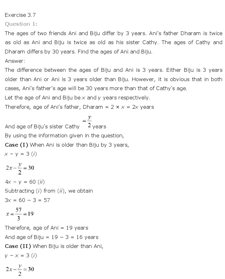 NCERT Solutions For Class 10 Maths Chapter 3 Pair of Linear Equations in Two Variables PDF Download FREEHOMEDELIVERY.NET