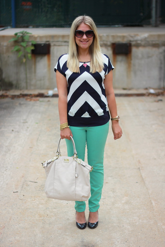 Ann Taylor chevron top mint skinny jeans outfit