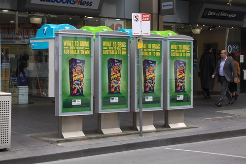 Multicoloured Telstra payphones