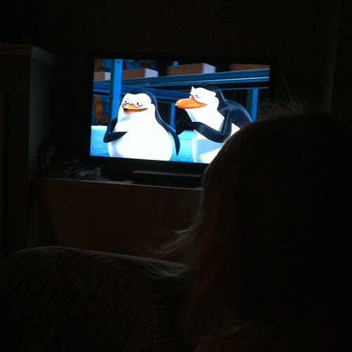 215:365 #widrn 5:30am... Watching Penguins of Madagascar with Megan