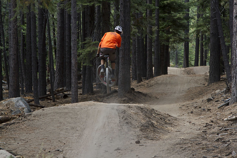 Kris Morehead rides one of the features built on Corral Trail